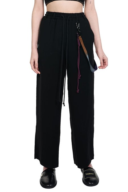 Song for the Mute High-Rise Wide-Leg Crepe Trousers - Black