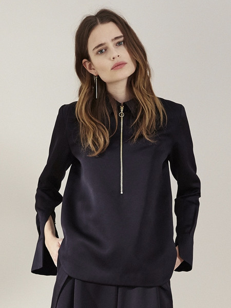 Nanushka Satin 'O' Ring Zip Shirt - Black