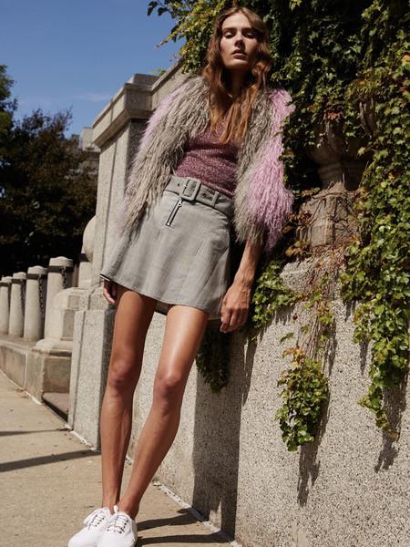 Sandy Liang Ilana Skirt - Grey Check