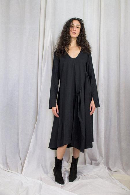 Kahle GATHERED INSET DRESS - BLACK