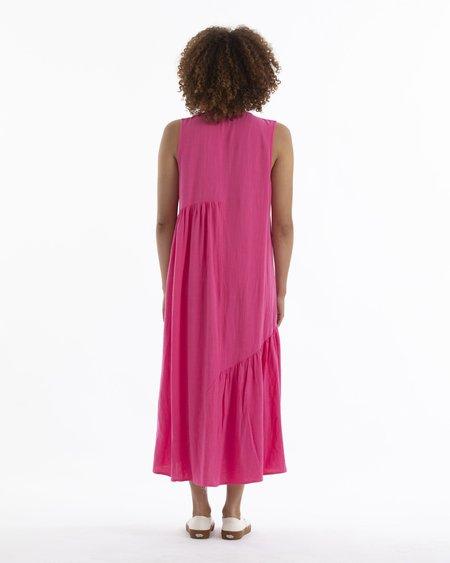 Ali Golden V-Neck Gathers Dress - Hot Pink