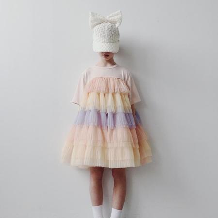 Kids caroline bosmans layered tulle dress - peach