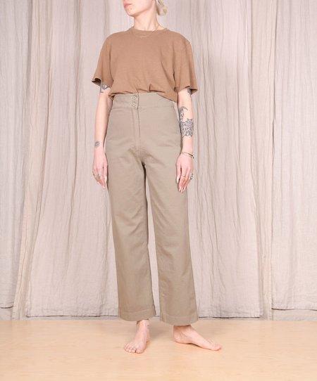 Ali Golden Cotton Fly Front Pant - Khaki