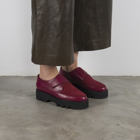 Unreal Fields WRAP UP Leather Platform Creepers - Bordeaux