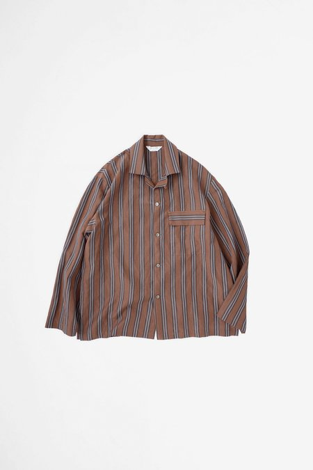 Still By Hand Open collar coverall - brown stripe