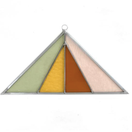 Debbie Bean Triangle Stained Glass Suncatcher - Pink Buckwheat