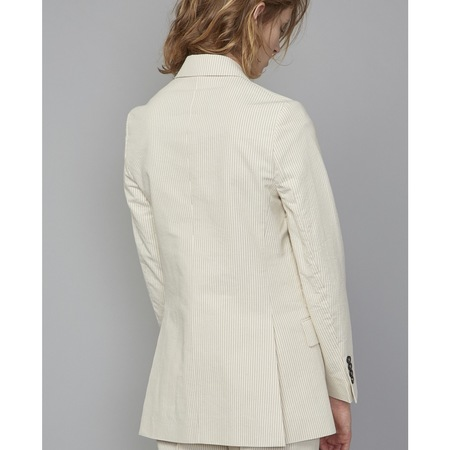 Officine Generale Manon Striped Cotton-blend Jacket - Ivory