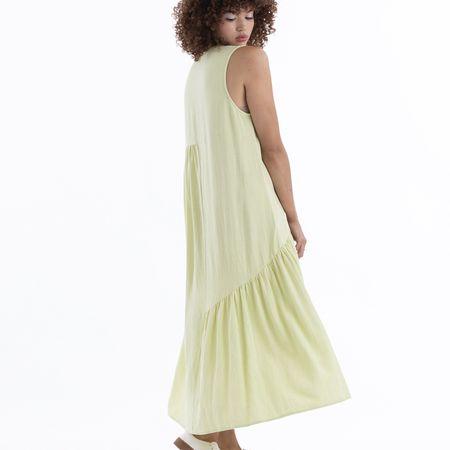 Ali Golden V Neck Dress - Citron