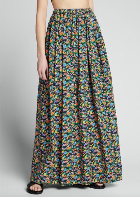 Tibi Sabine Floral Cocoon Skirt - Black Multi