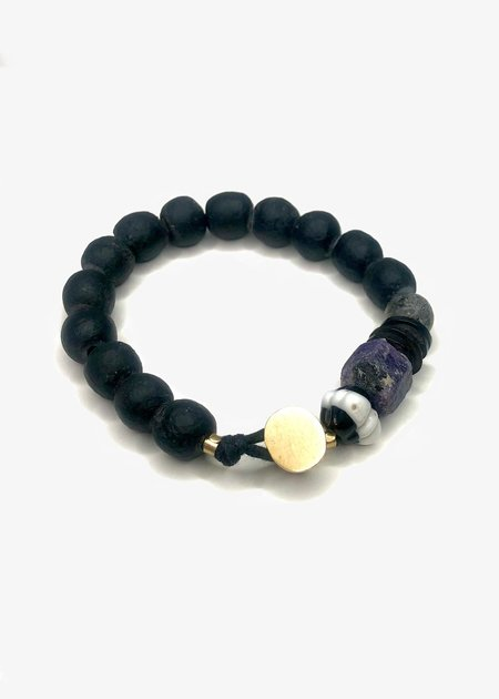 Agas & Tamar Stone Bracelet With Gold Button