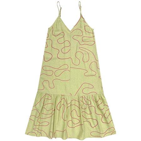 Ali Golden Slip Dress W/ Ruffle - Citron Squiggle