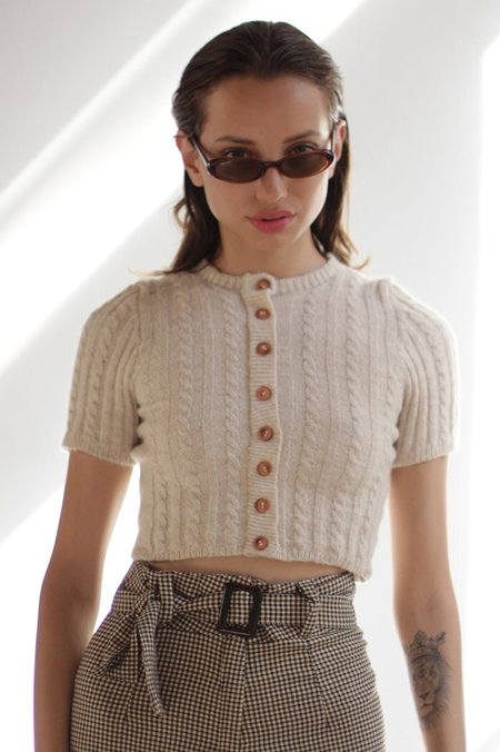 Tach Dalia Mohair Elastano Knit Top Cropped Sweater