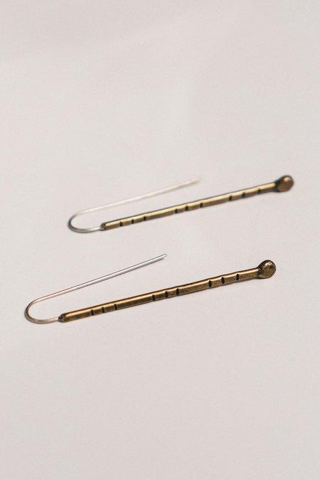 Rivet & Rise Stamped Route Hanger Earrings - Brass