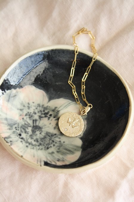 Communion by Joy Diamond Spirit Dove Medallion necklace - 14K Yellow gold/white diamonds