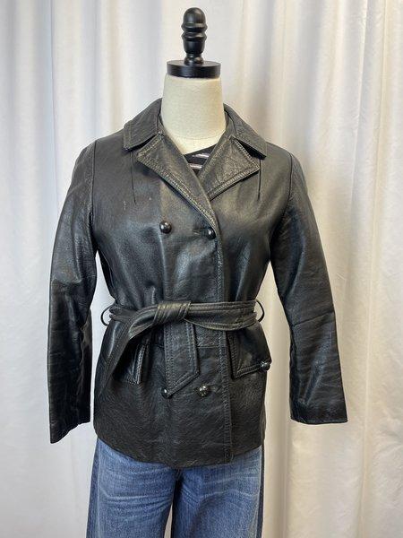Vintage Leather Belted Jacket - Black