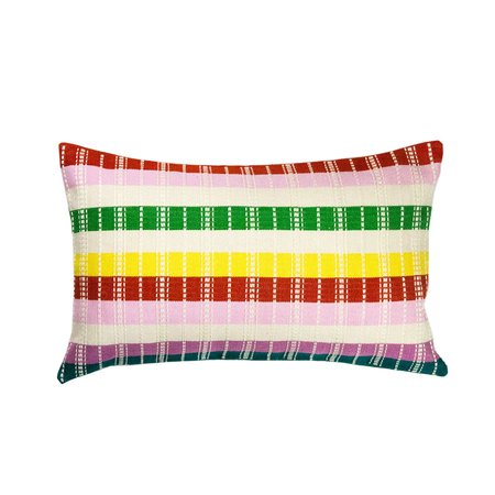 "Archive New York Santiago Rainbow Grid 12"" x 20"" Pillow - Multi"