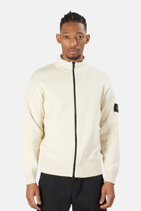 Stone Island Cotton Knit Zip Cardigan Sweater - Ivory