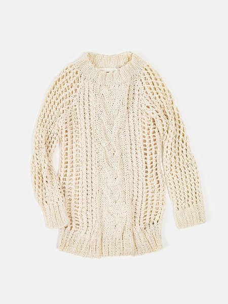 Erica Tanov cotton cable knit fisherman sweater - natural