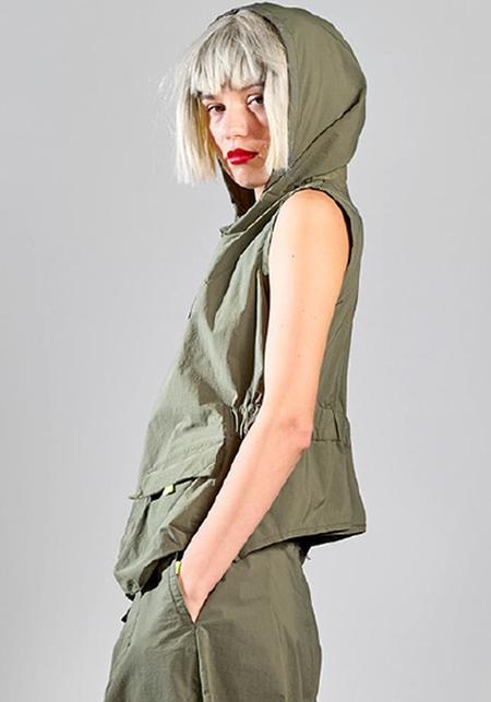 Lurdes Bergada Tech Fabric Hooded Vest - KHAKI