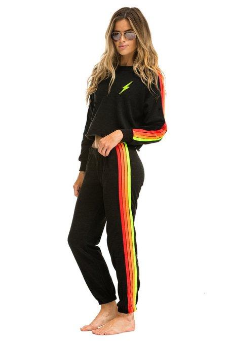 Aviator Nation 4 Stripe Sweatpants - Black/Neon