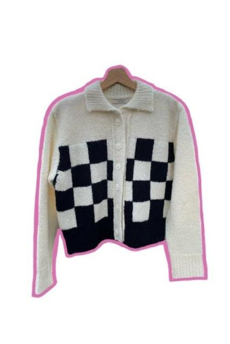 Courgette Checkered Cardigan