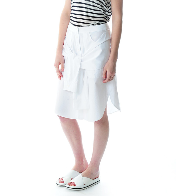 T By Alexander Wang White Cotton Poplin Sleeve Tied Skirt