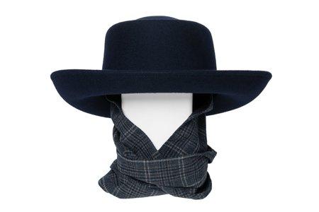 Clyde Gambler Wool Hat With Tweed Neck Scarf - Navy
