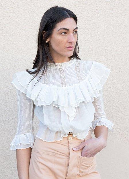 Vintage Edwardian Ruffled Blouse - white