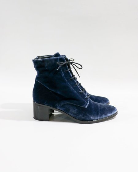 [pre-loved] Freda Salvador Ace Lace Up Boots - Navy