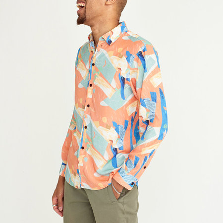 Wax London Kramer Lightweight Long Sleeve Shirt - Pete Hugg Print