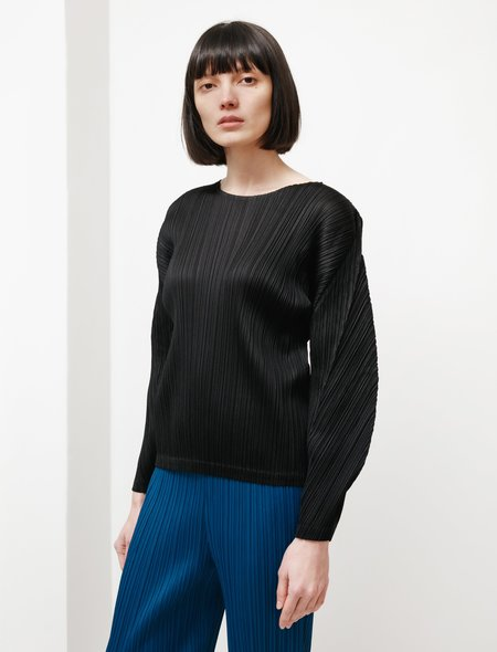 Pleats Please by Issey Miyake Rounded Sleeves Top - Black
