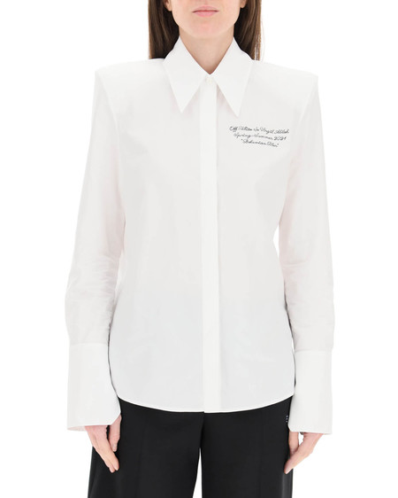Off-White Poplin Embroidered Shirt - white