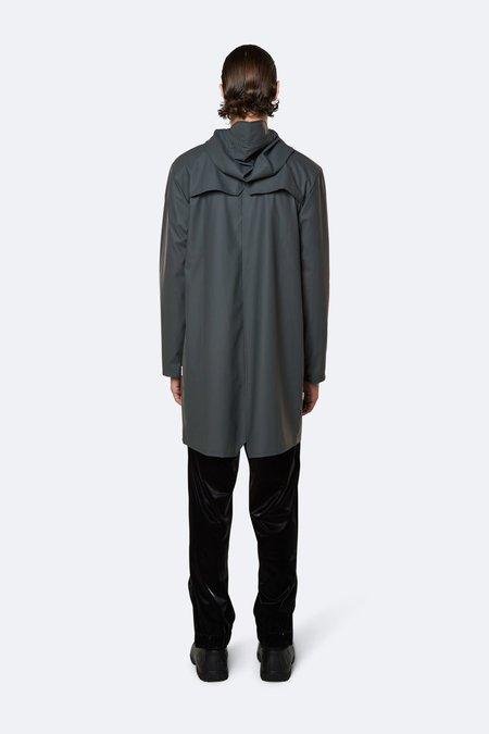 Rains Long Hooded Popper Jacket - Charcoal