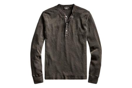 RRL Waffle-Knit Cotton Henley - Faded Black Canvas