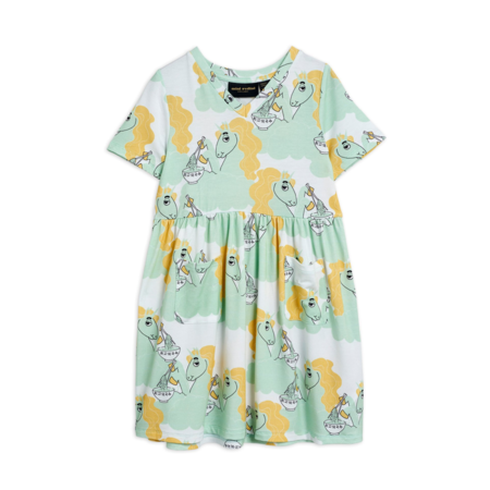 kids Mini Rodini Unicorn Noodles Short Sleeve Dress - Green