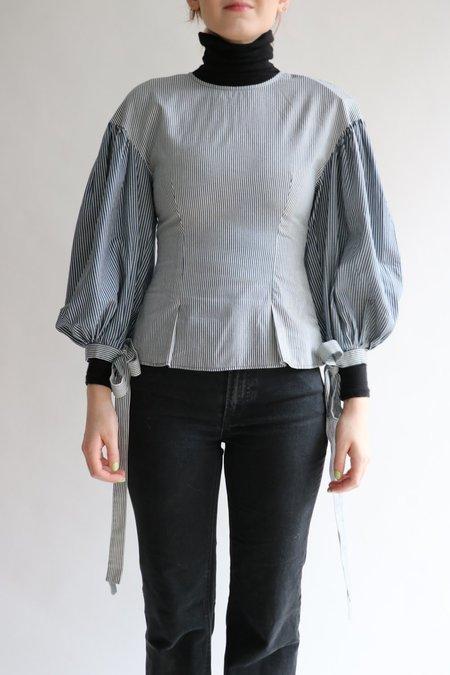 [Pre-loved] Rejina Pyo Striped Cotton Blouse - Blue/White