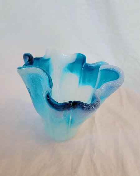 Vintage Blue Glacier Vase