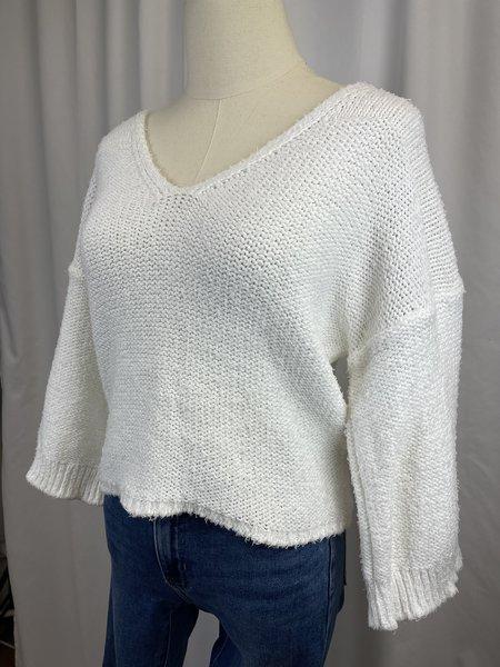 [Pre-loved] 360 Cashmere Sweater Cotton V-Neck Sweater - White