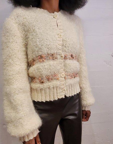 Vintage Puff Cardigan - Snow