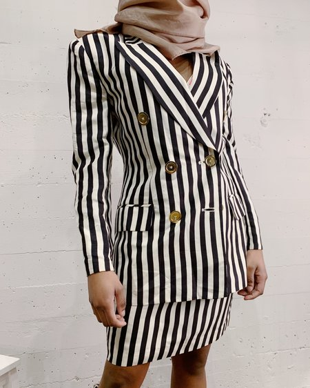 Vintage Stripe Silk Power Suit