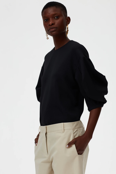 Tibi Chalky Drape Pleat Sleeve Top - Black