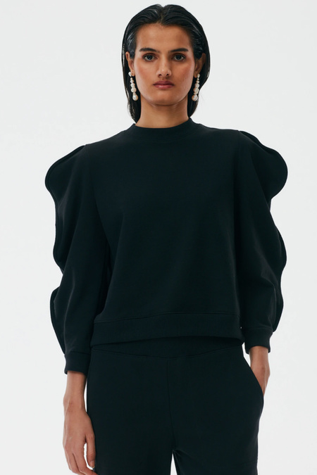 Tibi Scallop Sweatshirt - Black