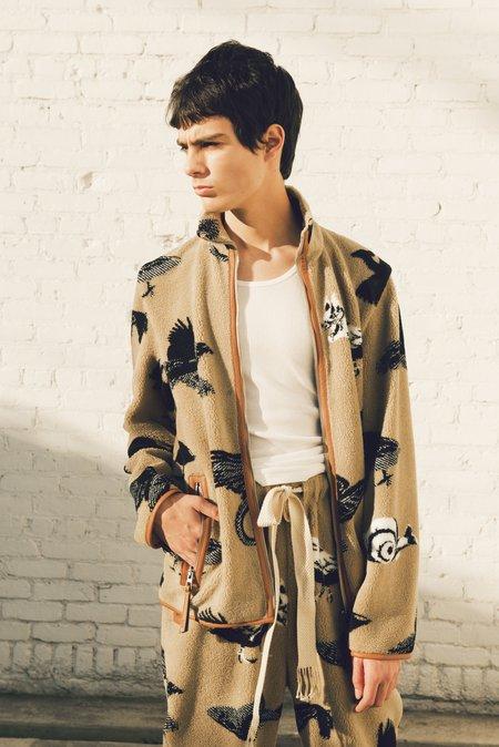 LOEWE Fleece Jacquard Animal Jacket - brown