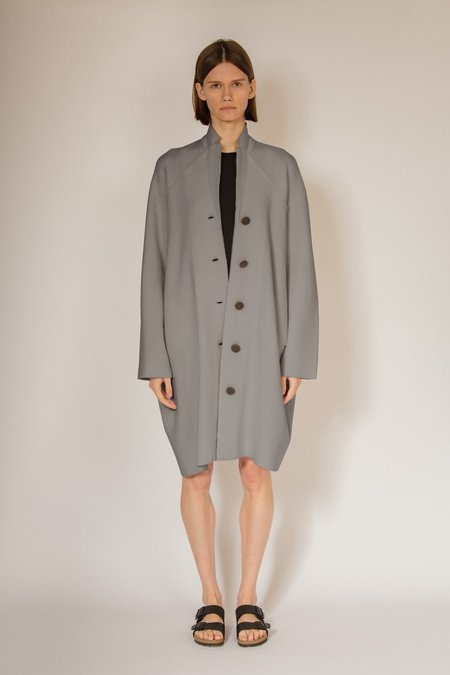 Oyuna Aurora Knitted Lapel Pod Wool and Cashmere Coat - Shark