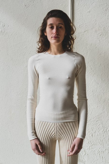 Baserange Buckle Knit Cotton Aid Long Sleeve - Off White