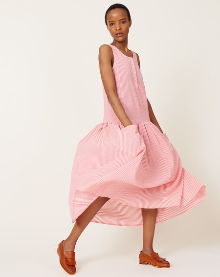 Caron Callahan Myrtle Dress - Pink Gauze Stripe