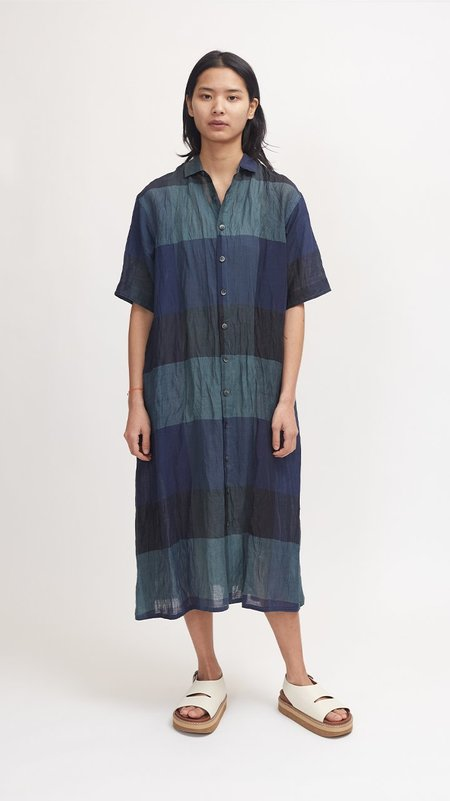 Pas de Calais Bamboo and Cotton Check Dress - Green