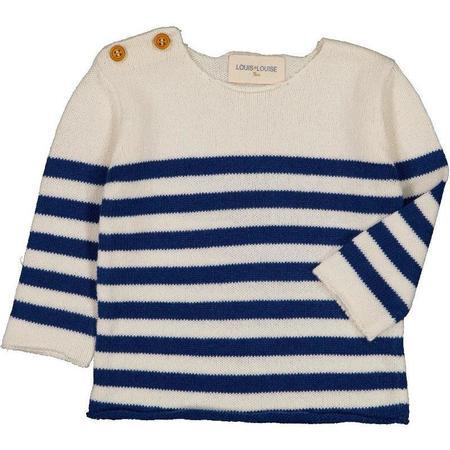 kids louis louise bobby baby cotton sweater - navy/off-white stripes