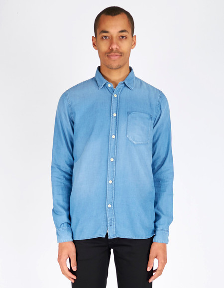 Nudie Henry Shirt Diagonal Indigo