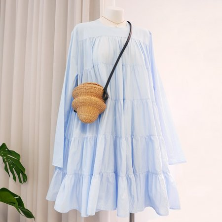 Merlette Tiered Dress - Light Blue